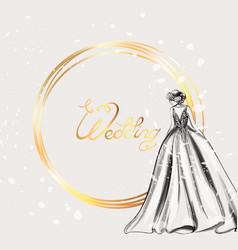 wedding card bride silhouette line art vector image