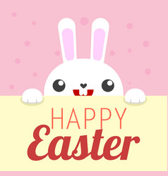 white rabbit happy easter sign vector image