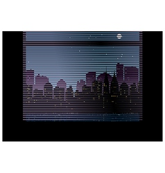 Window Blinds Cityscape View vector