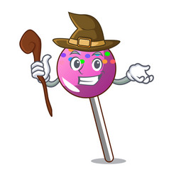 Witch lollipop with sprinkles mascot cartoon vector