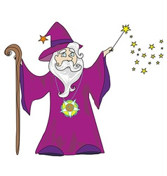 Wizard with a wand on a white background vector