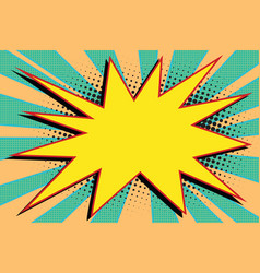 Yellow comic burst explosion pop art vector