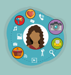 young woman with social media marketing icons vector image