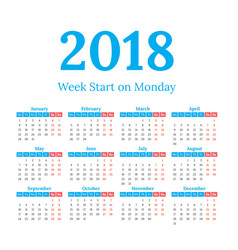2018 calendar start on monday vector image