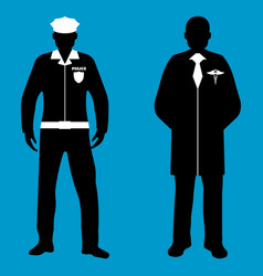 policeman and doctor silhouette icon service 911 vector image vector image