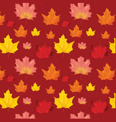 seamless autumn leaves background pattern vector image