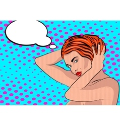 Sexy nude pop art girl in a shower vector image vector image