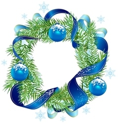 Christmas wreath decorated ribbon and blue balls vector image