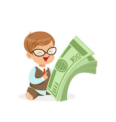 cute boy businessman holding stack of money kids vector image vector image