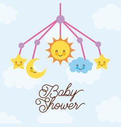 baby shower crib hanging toy with star moon cloud vector image