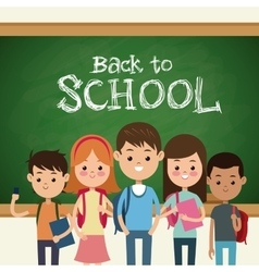 back to school students green board and chalk text vector image