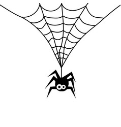 Cute spider on a web vector