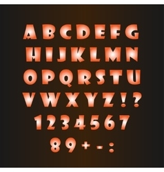 Glowing alphabet on a dark background vector image vector image
