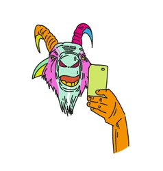 Goat making photo with smartphone vector image