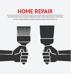 hand with trowel and brush home repair concept vector image
