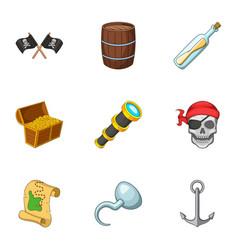 Pirate equipment icons set cartoon style vector