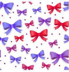 seamless pattern with bows gift kknots of ribbon vector image vector image