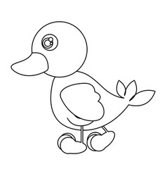 silhouette caricature duck side view animal icon vector image