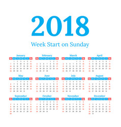 2018 calendar start on sunday vector image