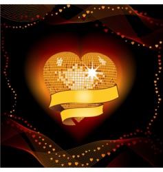 disco heart shield vector image vector image