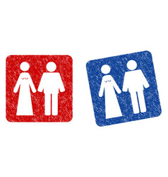 Married groom and bribe grunge textured icon vector