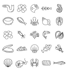 seafood fish ocean icons set outline style vector image