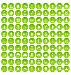 100 barber icons set green circle vector