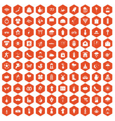 100 flowers icons hexagon orange vector