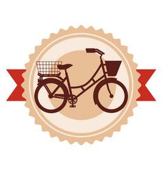 antique bicycle with basket emblem vector image
