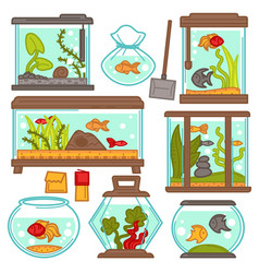 aquariums icons set with tropical fishes and vector image