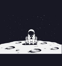 astronaut with mobile phone on moon vector image
