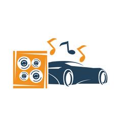 Audio car system box speaker note music logo vector