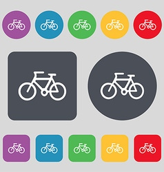 Bicycle icon sign A set of 12 colored buttons Flat vector