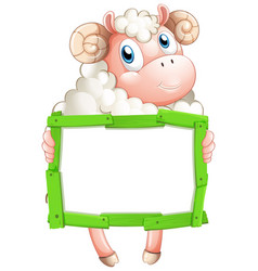 Blank sign template with sheep on white background vector
