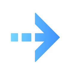 Blue arrow with dotted dash line flat design long vector