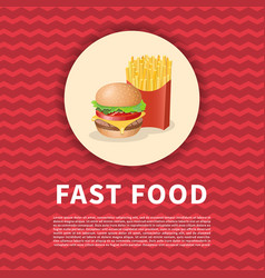 burger and fries red poster vector image