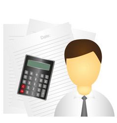 businessman over white papers and calculator vector image