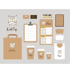 Cafe Stationery Coffee shop Branding Mock-up vector image vector image