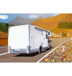 Camper traveling on mountains road vector image