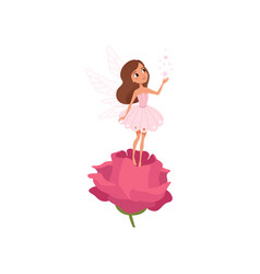 Cartoon fairy girl standing on rose and spreading vector