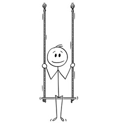 Cartoon man or businessman sitting on swing vector