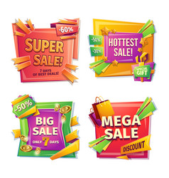 Cartoon sale banners badges stickers tags vector