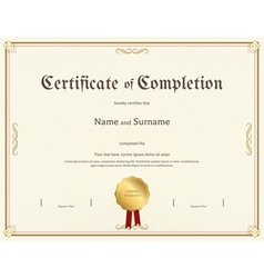 Certificate completion template vintage theme vector