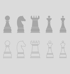 Chess icons outline chess pieces vector