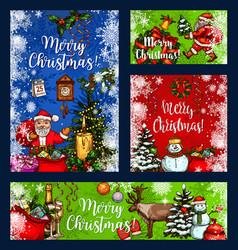 Christmas greeting wish sketch cards vector