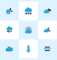 Climate colored icons set collection of vector