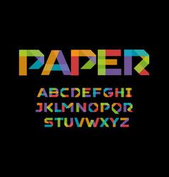 color paper applique alphabet colorful origami vector image
