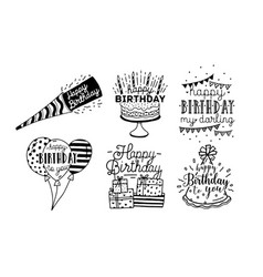 Cute happy birthday greetings inscriptions design vector