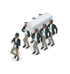 Dancing coffin meme with black men who carry vector