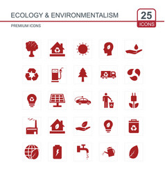 Ecology and enviromentalism icons set red vector